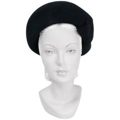 1940s Black Felt Hat with Double Bow and Top Stitch Pattern