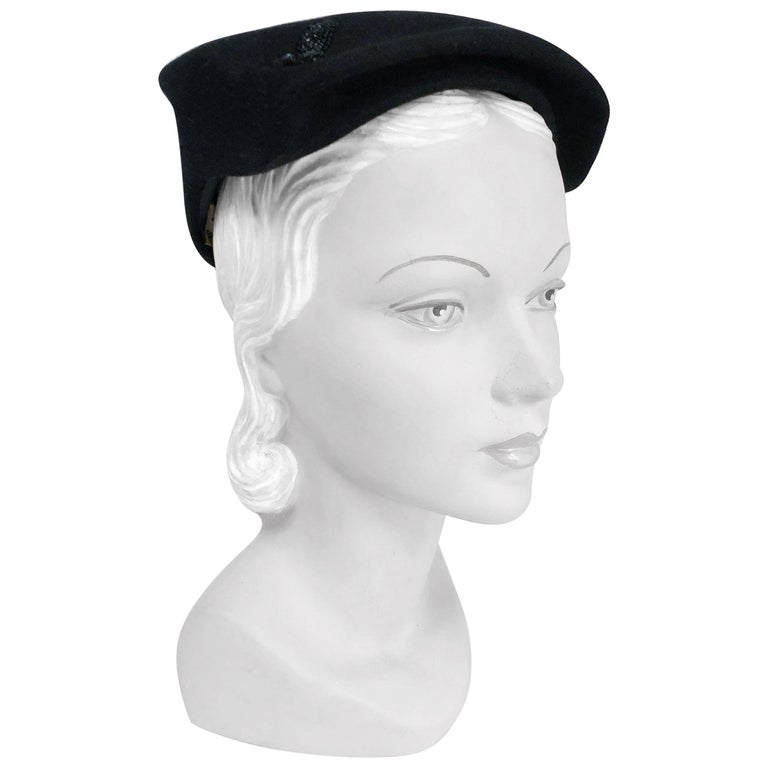 1950s Black Cashmere Sculptured Hat with Beadwork For Sale