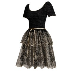 Unworn 1990s Mary McFadden Couture Vintage Metallic Gold Black Lace Dress
