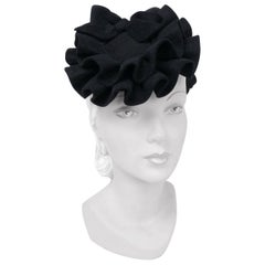 1940s Black Felt Cocktail Hat with Ruffles and Bows