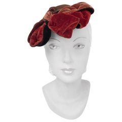 1930s Brown Cashmere Perch Hat