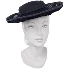 1940s Navy Felt Hat with Hand Cut Pattern and Netting