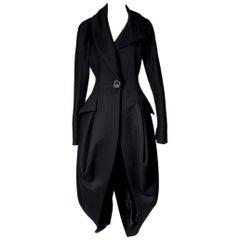John Galliano Black Wool Coat, circa 1990s