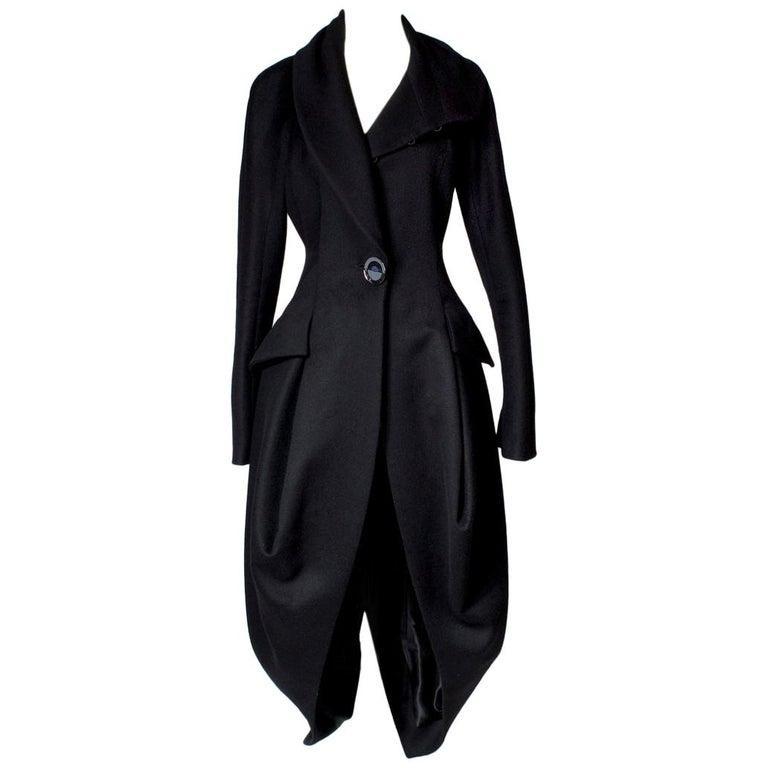 John Galliano Black Wool Coat, circa 1990s For Sale