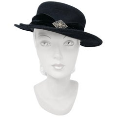1940s Black Fur Felt Hat with Double Bill and Jeweled Accent