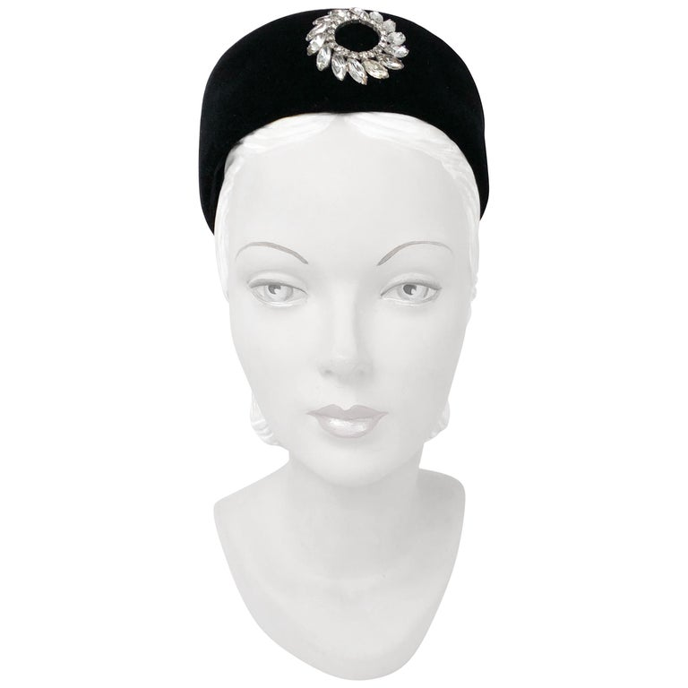 1960s Black Velvet Pillbox Hat with Rhinestone Accent For Sale at ... cc09a24a259