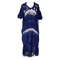 Comme Des Garcons Royal Blue Crochet Dress