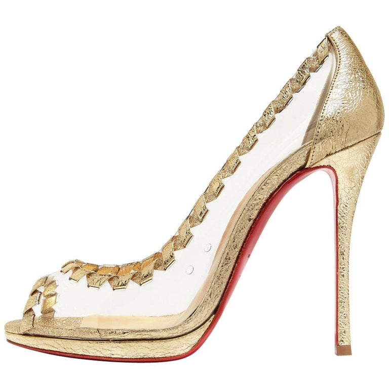 4447aa8bdfd Christian Louboutin NEW Gold Leather Clear PVC Sandals Pumps Heels in Box  For Sale
