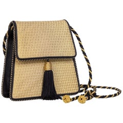 Vintage Bottega Veneta Gold Black Silk Tassel Evening Bag