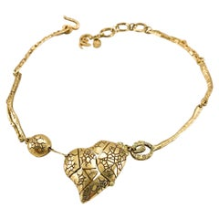 1990's Christian Lacroix Gold-Plated 'Broken Heart' Necklace