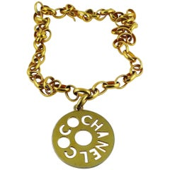 Chanel Vintage Coco Chanel Cutout Openwork Logo Medallion Necklace