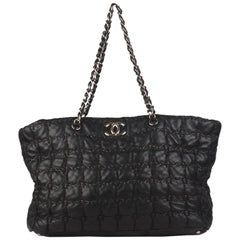 Chanel Black Tweed Square Stitch Quilted Leather Large Tote Bag