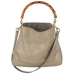 Gucci Taupe Leather Diana Hobo Bag Tote Bamboo Handle