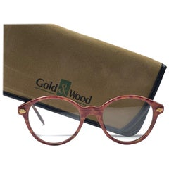 New Vintage Gold & Wood Genuine Sunglasses 1980's Made In France
