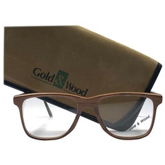 New Vintage Gold & Wood Square Genuine Sunglasses 1980's Made In France