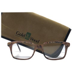 New Vintage Gold & Wood Rectangular Genuine RX Glasses 1980's Made In France