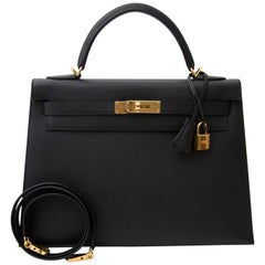 Hermes Kelly 32 Epsom Black GHW