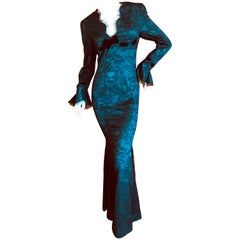 Thierry Mugler Green Vintage 80's Evening Dress with Black Lace Overlay