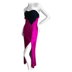Thierry Mugler 80's Strapless Black Velvet Bustier Dress w Fuchsia Silk Draping