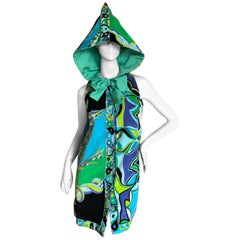 Emilio Pucci Vintage 1960's Terry Cloth Velvet Beach Wrap Dress w Hood & Bow Tie