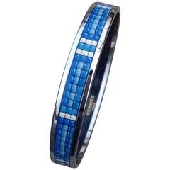 Hermès Printed Enamel Bracelet Pearl Pattern Narrow Size 65 New Phw !