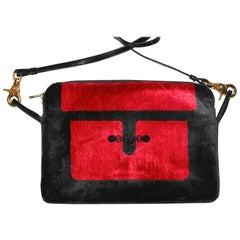 Roberta di Camerino Red velvet and leather bag