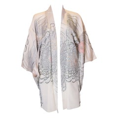 Vintage Silk Kimono with Sparling Chrysanthemum Design