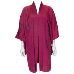 Vintage Himbeerfarbener Seidenkimono