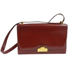 24 Fbg St Honoré Vintage 40's Hermes Burgundy Shoulder Bag