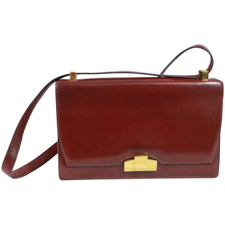 6a978e992626 24 Fbg St Honoré Vintage 40 s Hermes Burgundy Shoulder Bag For Sale ...