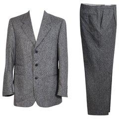 1990s Roberto Capucci Black White Wool Tweed Pants Suit