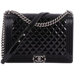Chanel Boy Flap Bag Quilted Patent Large