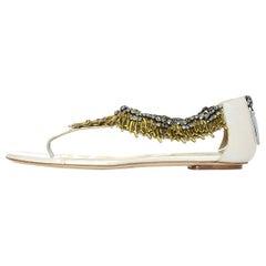 Valentino Taupe Sandal W/ Gold Coral & Rhinestone Trim Sz 41