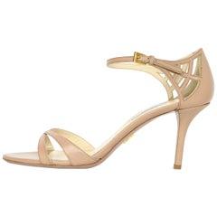 Prada Nude Leather Strappy High Heel Sandals Sz 40.5 W/ Box & Dust Bag