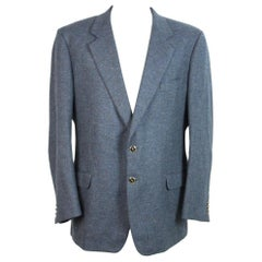 1990s Yves Saint Laurent Blue Tweed Wool Jacket