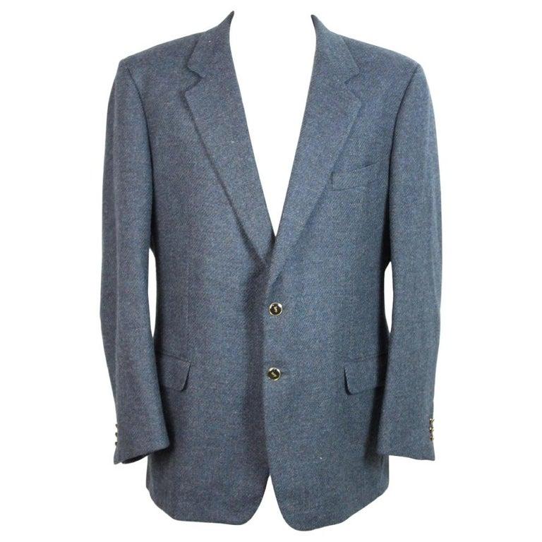 7c87e55913d 1990s Yves Saint Laurent Blue Tweed Wool Jacket For Sale. Vintage jacket  for men ...