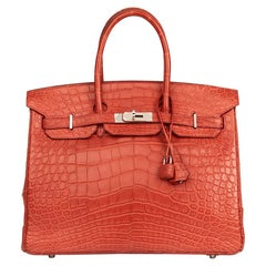 2008 Hermes Rouge Indienne Matte Alligator Leather Birkin 35cm