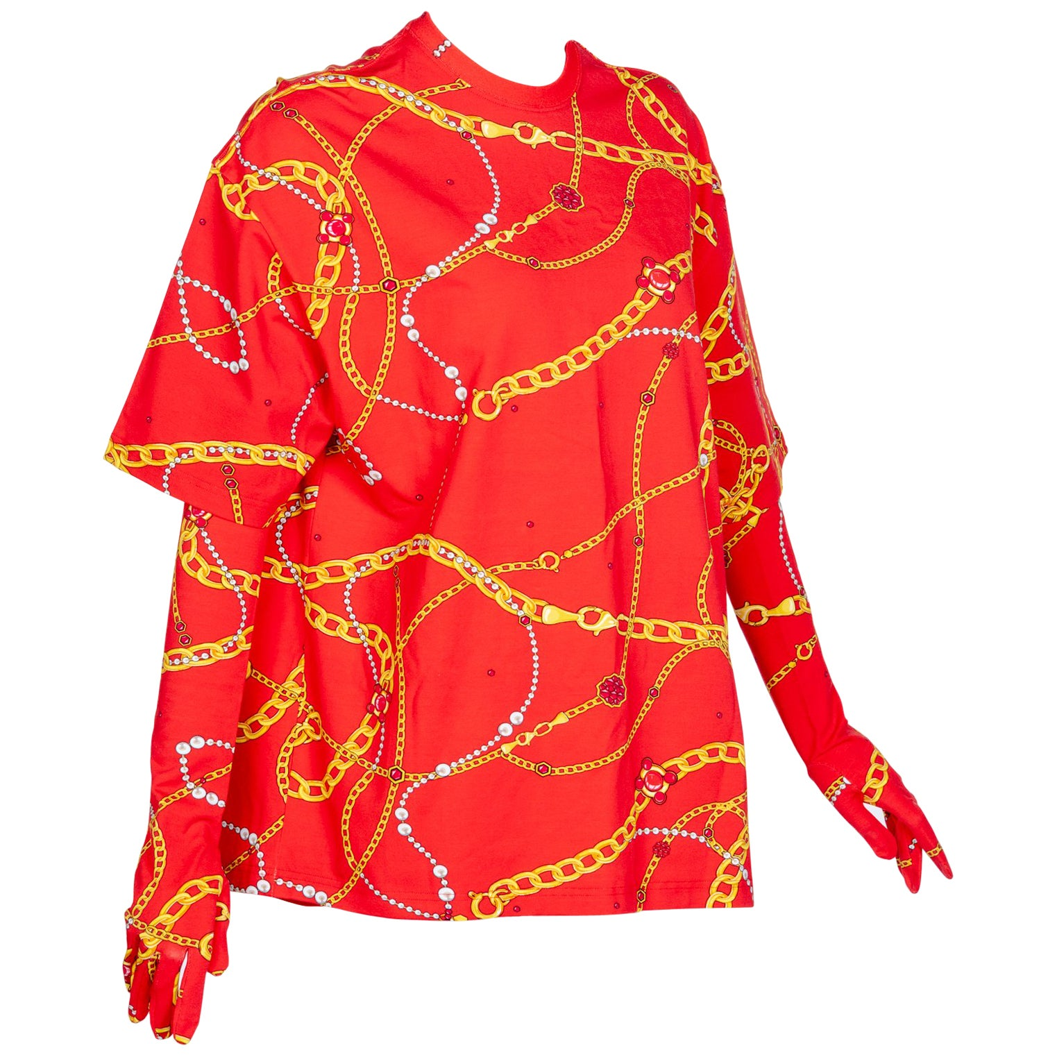 488e76cc9c90 Balenciaga Red Chain Print Shirt and Gloves at 1stdibs