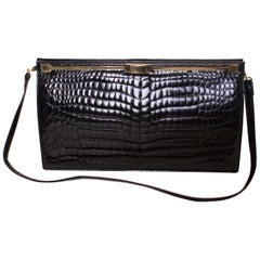 Vintage Bon Gout Black Crocodile Bag