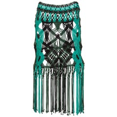 Proenza Schouler Green Turquoise Macrame Fringe Skirt ,2011