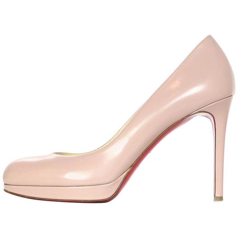Christian Louboutin Nude New Simple Pump Leather Shoes Sz 38 W/ Box & Dust Bags