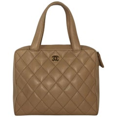 Chanel Lambskin Leather Wild Stitch Large Shoulder with Gold Hardware in Beige