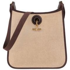 """HERMES c.1998 """"Vespa PM"""" Natural Canvas Brown Leather Toggle Shoulder Bag Purse"""