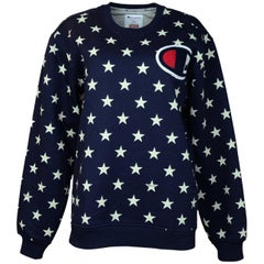 Champion x Supreme Ltd. Edt. 2012 Navy/White Star Print Crewneck Sweatshirt Sz L