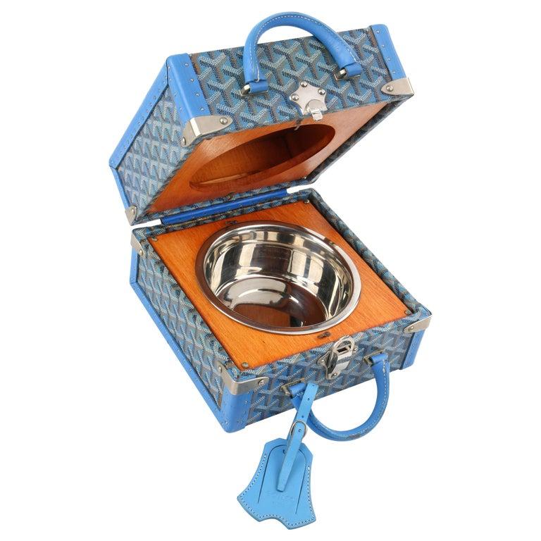 GOYARD c.2002 Blue Goyardine Pet Bowl Carrier Travel Trunk Limited Edition No 17 For Sale