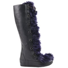 MARNI Black Leather & Navy Blue Angora Fur Lace Up Knee-High Apres Boots