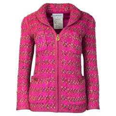 Chanel Pink Fantasy Tweed CC Zipper Jacket Sz 34