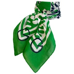 1970s Gucci Green Cotton Scarf with Fish Print