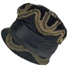 1920s Flapper gold metallic Passementerie Cloche Hat