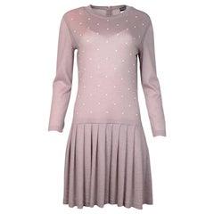 Chanel Mauve Mohair/Cashmere Longsleeve Dress/Slip W/ Pearl Front Sz 42